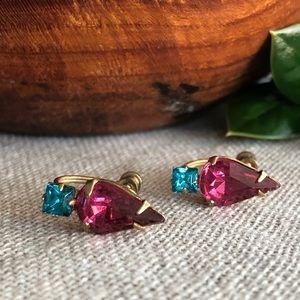 Vintage Sapphire & Pink Rhinestone Screw Earrings